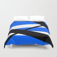 bands Duvet Covers featuring Bands 1 Retro stripes by Brian Raggatt