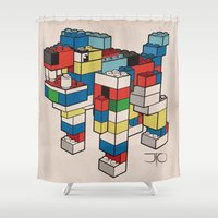 the hound Shower Curtains featuring Block Hound by My Metal Hand by JTO