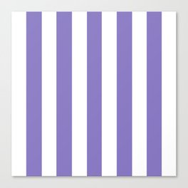 Ube violet - solid color - white vertical lines pattern Canvas Print