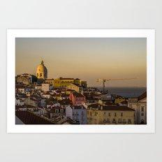 Sunset over Alfama district of Lisbon Art Print