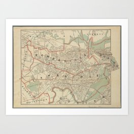 Beautiful 1892 Vintage Map of Cambridge and Somerville Art Print