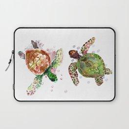 Turtles, Olive Green Cherry Colored Sea Turtles, turtle Laptop Sleeve