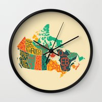 canada Wall Clocks featuring Canada by Mohit Gupta