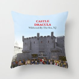 Castle Dracula on the Boardwalk in Wildwood, New Jersey Throw Pillow