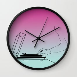 Vinyl on the Record Player Wall Clock