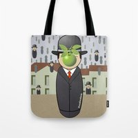 magritte Tote Bags featuring Kokeshi Magritte by Pendientera