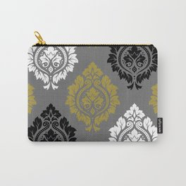 Decorative Damask Pattern BW Gray Gold Carry-All Pouch