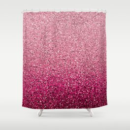 Pink Ombre Glitter Shower Curtain