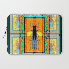 WESTERN TEAL TURQUOISE BEETLE ORANGE ART DESIGN Laptop Sleeve