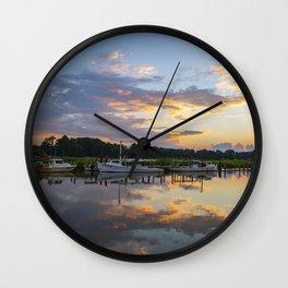 Sunset on Jones Creek Wall Clock
