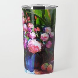 Roses and Aspidistra Plant Travel Mug
