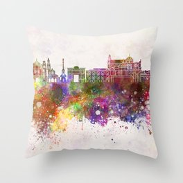 Cordoba skyline in watercolor background Throw Pillow