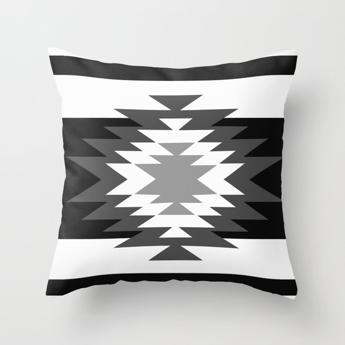 aztec black and white throw pillow by aztec society6. Black Bedroom Furniture Sets. Home Design Ideas