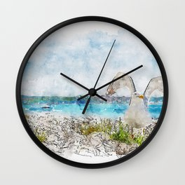 Aquarelle sketch art. Seagull on the rocky beach in Istria, Croatian coast Wall Clock