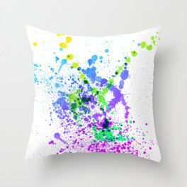 Multicolor Madness - Abstract Splatter Style Throw Pillow