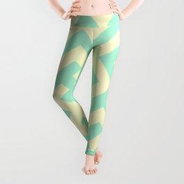 Cream Yellow and Magic Mint Green Diagonal Labyrinth Leggings