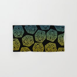d20 dice pattern - yellow and blue gradient over black - icosahedron Hand & Bath Towel