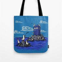 hallion Tote Bags featuring The Seagulls have the Phonebox by Karen Hallion Illustrations