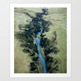 Aerial View of Fjaðrárgljúfur Canyon in Iceland – Landscape Photography Art Print