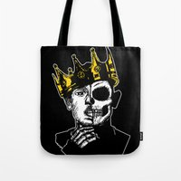 kendrick lamar Tote Bags featuring King Kendrick by zombieCraig by zombieCraig