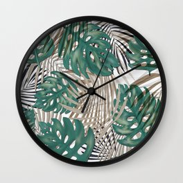 Tropical Leaves Nature Print Palm Fronds Wall Clock