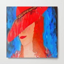 Red Hat Lady Metal Print