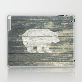 Rustic White Bear on Teal Wood Lodge Art A231c Laptop & iPad Skin