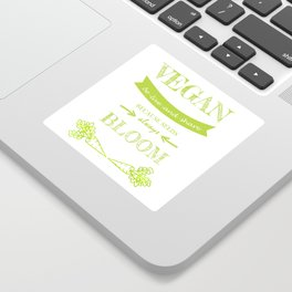 Vegan be live and share long green letters Sticker