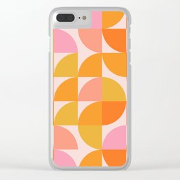 Mid Century Mod Geometry in Pink and Orange Clear iPhone Case