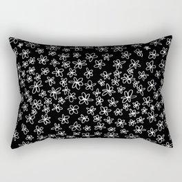 Flowers on Black Rectangular Pillow