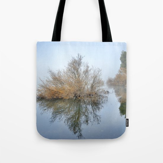 """Foggy Morning At The Lake"". Magic sunrise Tote Bag"