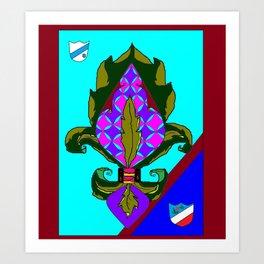 Fancy Royal Fleur de Lis and Shields and Ribbon Art Print