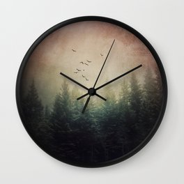 The Forest's Voice - surreal forest photo, Nature Photography, Ethereal Atomspheric Dreamy Wall Clock