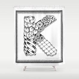 Zentangle K Monogram Alphabet initial Shower Curtain