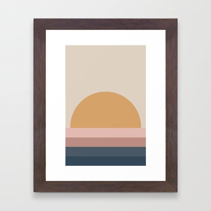 Minimal Retro Sunset - Neutral Framed Art Print
