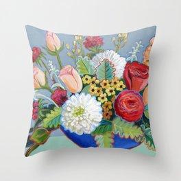 Blue Bowl Throw Pillow