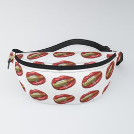 Biting The Bullet Pierced Red Lips on White Fanny Pack