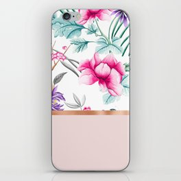 Chinoiserie pearl white floral & rose gold iPhone Skin