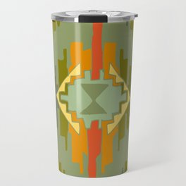 Ikat 4 Olive green Ethnic design Travel Mug