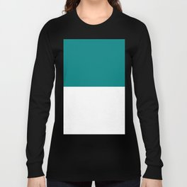 White and Dark Cyan Horizontal Halves Long Sleeve T-shirt