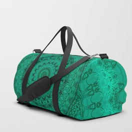 Forest Green Detailed Mandala Duffle Bag