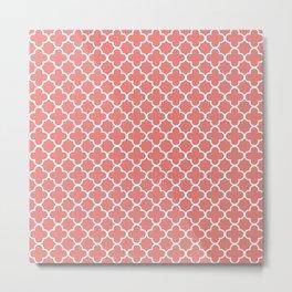 Quatrefoil Clover in Salmon Red Metal Print