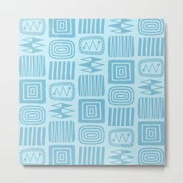 Retro Mid Century Modern Check Pattern 255 Blue on Blue Metal Print
