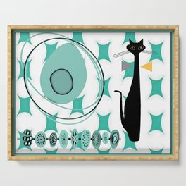 Mid-Century Modern Atomic Art - Teal - Cat Serving Tray