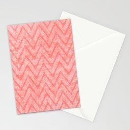 Peach Pink Imitation Velvet Zigzag Pattern Stationery Cards