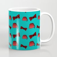 fez Mugs featuring Red Fez & Bow Tie (on teal green) by Bohemian Bear by Kristi Duggins