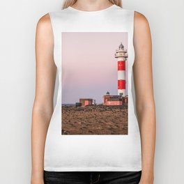 Lighthouse in Fuerteventura at sunset Biker Tank