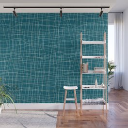 Off White Hand Drawn Abstract Mosaic Thin Line Grid Pattern on Tropical Dark Teal Inspired by Sherwin Williams 2020 Trending Color Oceanside SW6496 Wall Mural