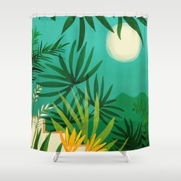 Exotic Garden Nightscape / Tropical Night Series #2 Shower Curtain