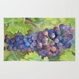 Grapes Watercolor Fruit Food Wine Lovers Rug